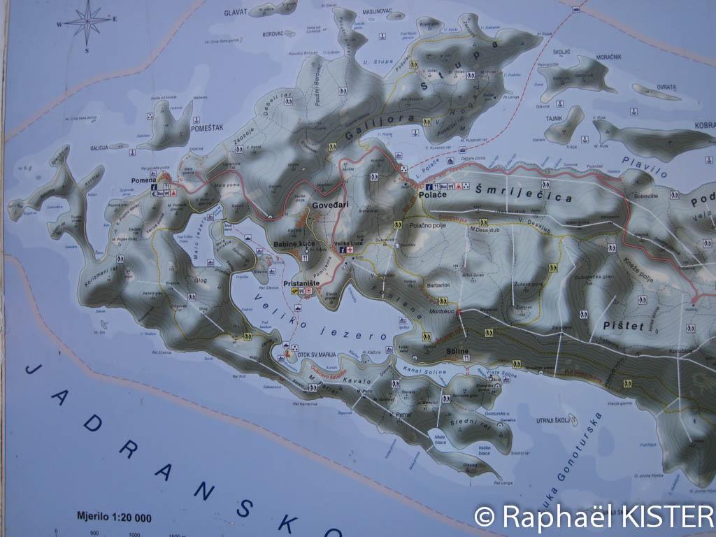 Carte du parc national de Mljet